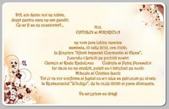 Invitatii De Nunta Si De Botez Bucuresti Mesaje Felicitariro