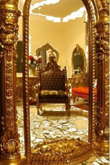 Oglinda cu rama din lemn masiv de la Melooky