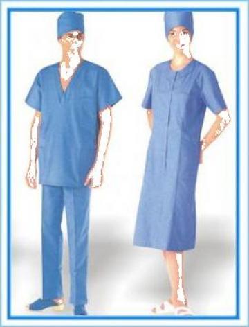 Halate pentru medici albastre dama si barbati plus boneta de la Johnny Srl.