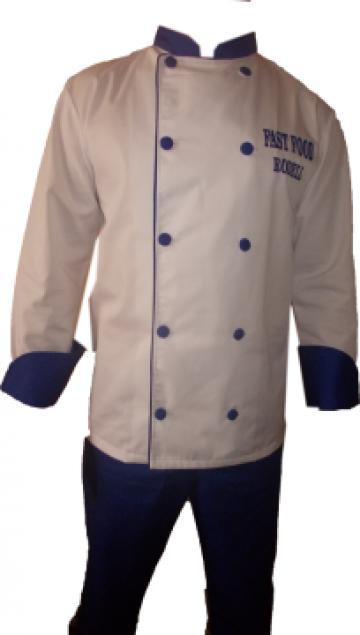 Costum de bucatar alb, insertie albastru de la Johnny Srl.