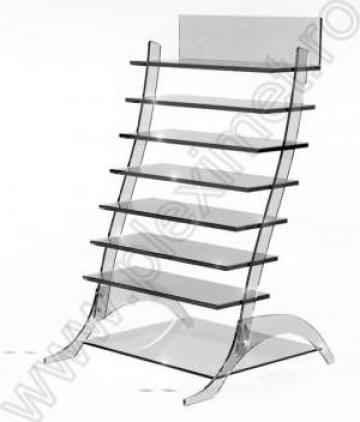 Etajera asimetrica de expunere SVE 3 de la Sc Plexi-Met Srl