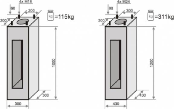 Fundatie prefabricata beton stalpi iluminat F100/200
