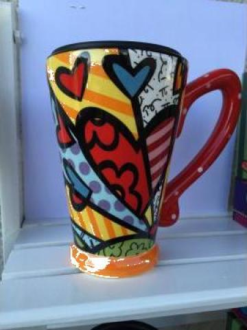 Cana ceramica fina cu capac din plastic de la Alex Deco.ro Srl