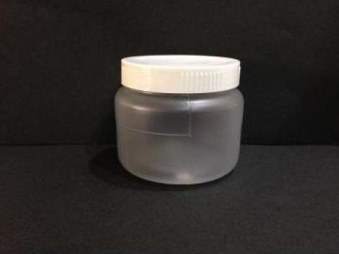 Borcan transparent/alb 200ml cu capac fi 66 alb/galben de la Vanmar Impex Srl
