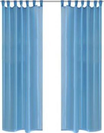 Perdea transparenta turcoaz 140 x 225 cm 2 buc.