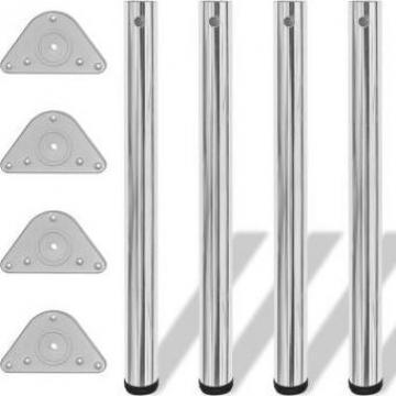 Picioare de masa reglabile, Crom, 710 mm, 4 buc.