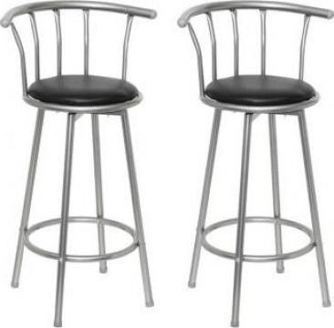 Set scaune bar piele, otel