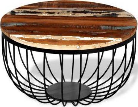 Masa de cafea din lemn reciclat de esenta tare