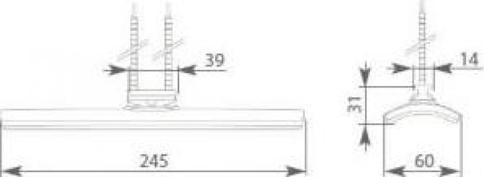 Rezistenta ceramica cu infrarosu avand L=245 mm si 400 wati de la Tehnocom Liv Rezistente Electrice, Etansari Mecanice