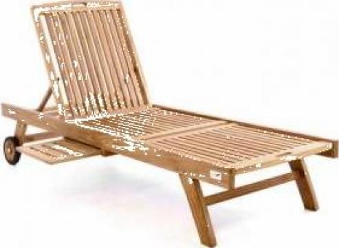Sezlong relaxare multireglabil din lemn de salcam