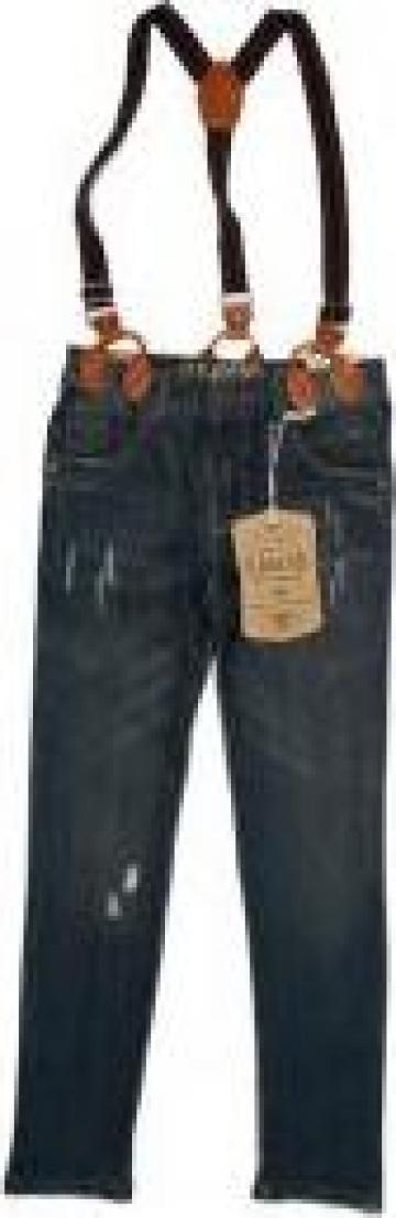 Jeans cu bretele pentru baieti