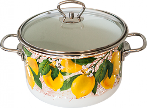 Oala emailata ruseasca Limon 4 litri capac sticla de la Basarom Com