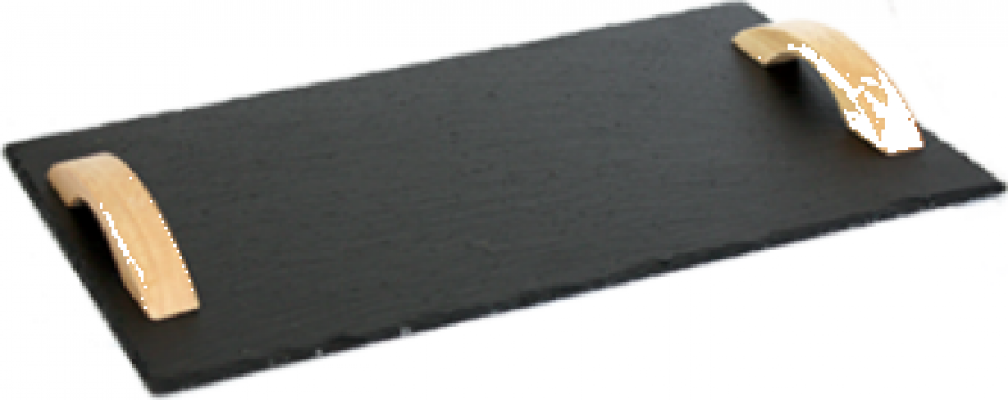 Platou piatra ardezie Raki, dreptunghiular manere lemn de la Basarom Com
