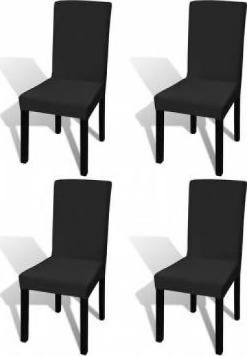 Husa elastica dreapta pentru scaun, negru, 4 buc.
