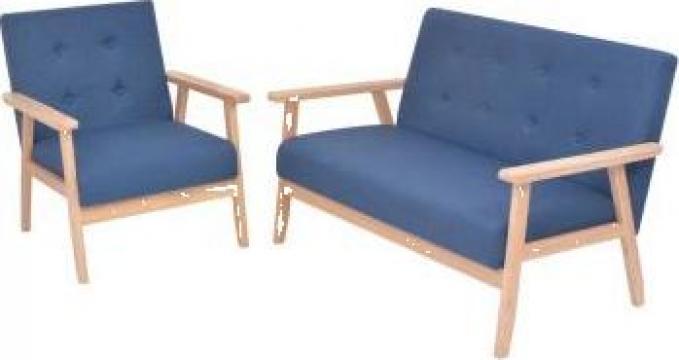 Set cu canapele, 2 piese, material textil, albastru de la Vidaxl