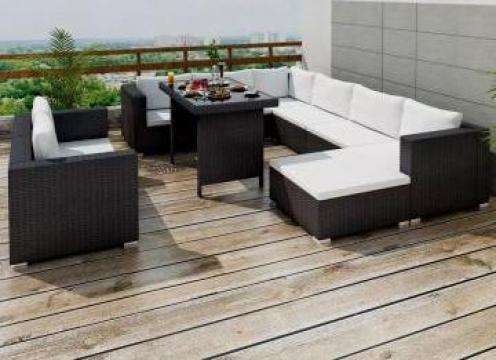Set mobilier de exterior 28 piese, negru, poliratan