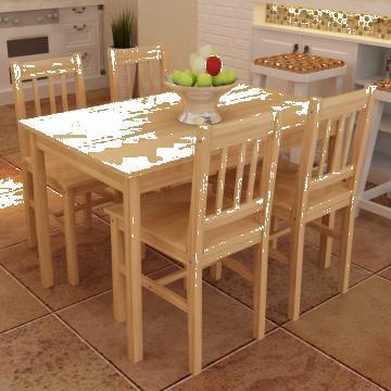 Masa cu 4 scaune din lemn culoare naturala de la Vidaxl