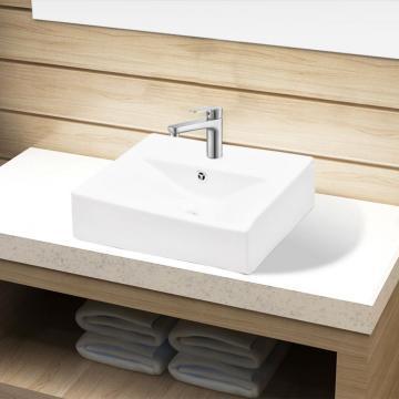 Chiuveta dreptunghiulara de baie din ceramica, alb de la Vidaxl