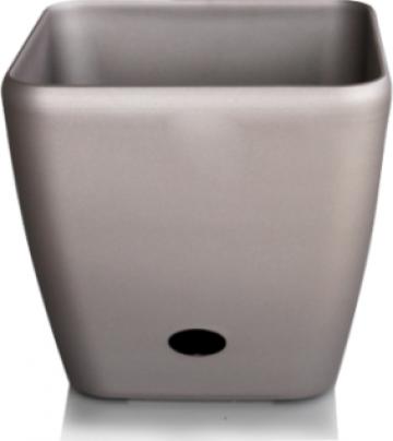 Ghiveci patrat Premium sistem de udare picurare 45x42cm gri de la Basarom Com