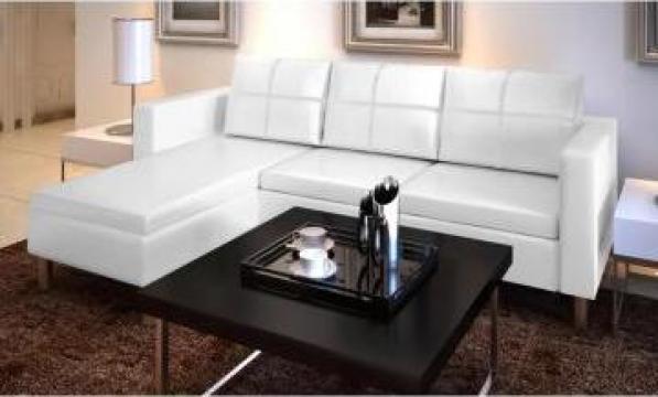 Canapea modulara cu 3 locuri, piele artificiala, alb de la Vidaxl
