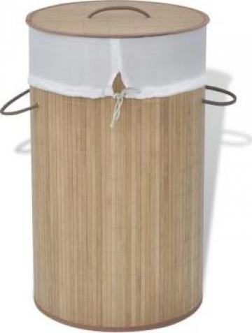 Cos de rufe cilindric din bambus maro de la Vidaxl