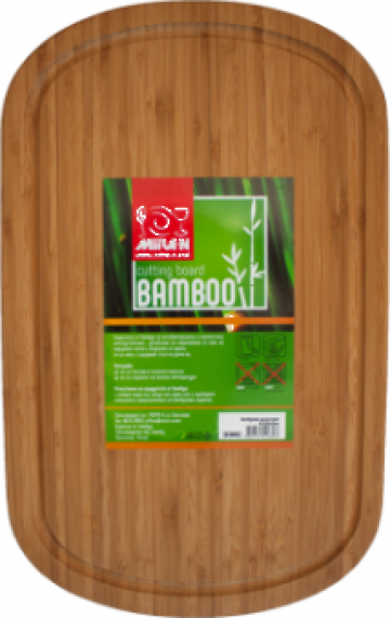 Tocator bucatarie bambus ovala Raki 42x27x1,9cm de la Basarom Com