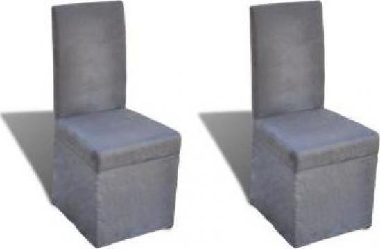 Set 2 scaune pentru bucatarie, gri inchis de la Vidaxl