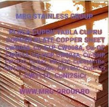 Copper plate 50mm, copper sheet, Tabla cupru 50mm de la MRG Stainless Group Srl