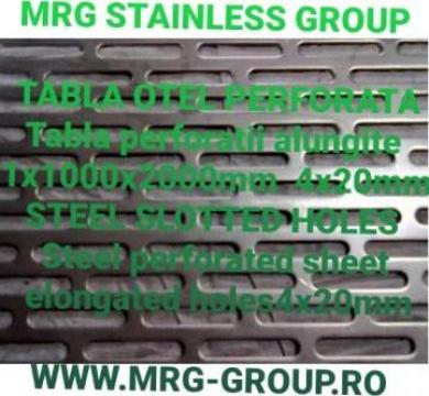 Tabla otel perforata 1x1000x2000mm, gauri alungite 4x20mm de la MRG Stainless Group Srl