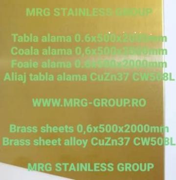 Tabla alama 0.6x500x2000mm CuZn37 CW508L Brass de la MRG Stainless Group Srl