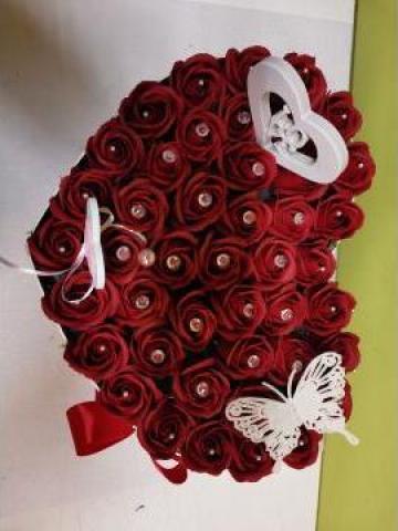 Cadou Inima 50 trandafiri cu diamante 0087 de la Floraria Stil