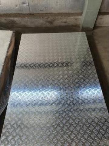 Tabla aluminiu striata 1250x2500 Quintet Diamond Stucco Inox
