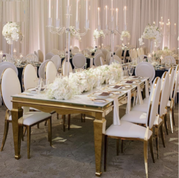 Mese inox cu blat oglinda pt saloane evenimente, ballroom de la M.f.l. Contract Services Srl