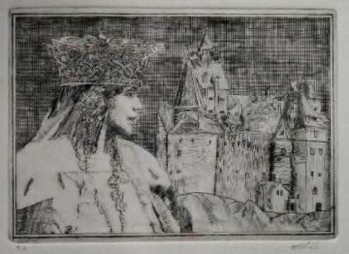 Gravura 35x25 Bran - castelul Reginei Maria, daltita