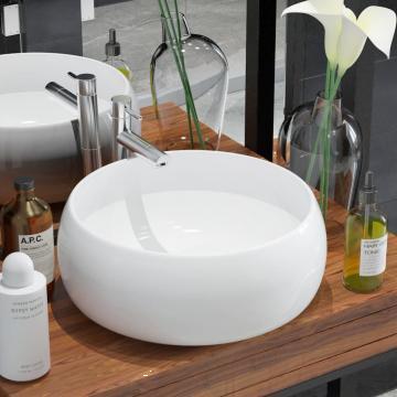 Chiuveta de baie rotunda, alb, 40 x 15 cm, ceramica de la Vidaxl