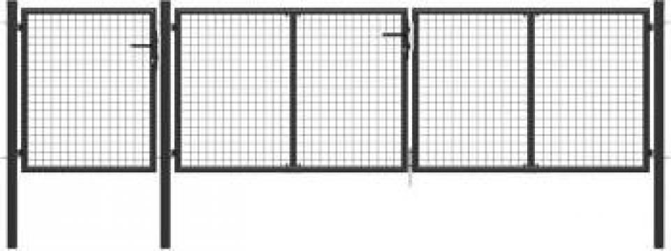 Poarta de gradina, antracit, 400 x 75 cm, otel