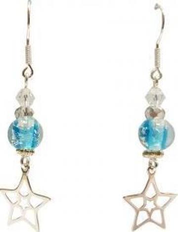 Cercei femei Blue Stars handmade, argint 925