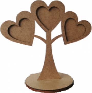 Rama foto Copac cu 3 inimi, MDF, 15x24 cm de la Sandart Wood Srl