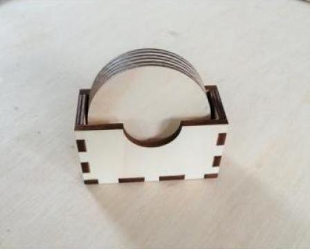 Set 6 coastere lemn rotunde + suport