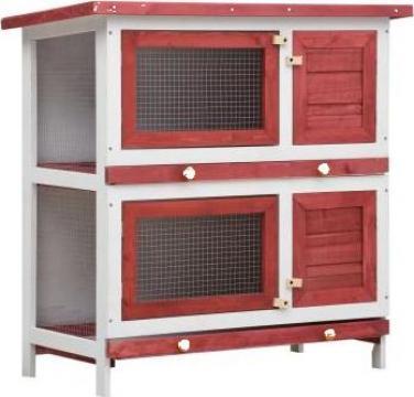 Cusca de iepuri pentru exterior, 4 usi, rosu, lemn de la Vidaxl