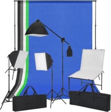 Kit studio foto cu masa foto, lumini si fundaluri