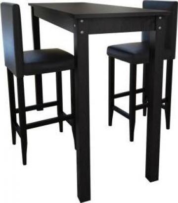Masa bar cu 2 scaune negru de la Vidaxl