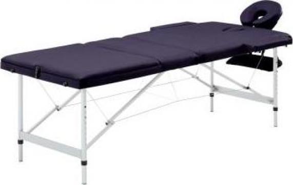 Masa de masaj pliabila cu 3 zone, violet, aluminiu de la Vidaxl