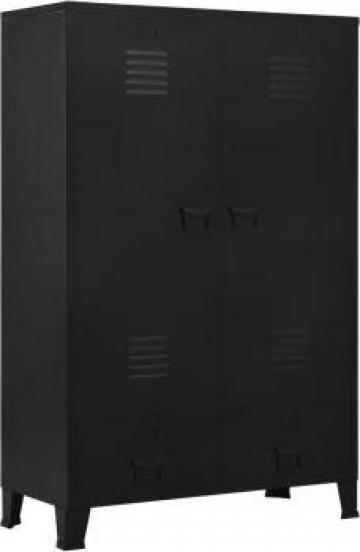 Sifonier, negru, 90 x 40 x 140 cm, otel, industrial de la Vidaxl
