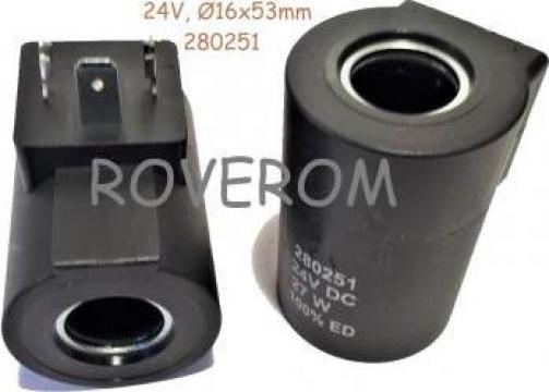 Bobina 24V, d16x53mm, 27W, 3 pini