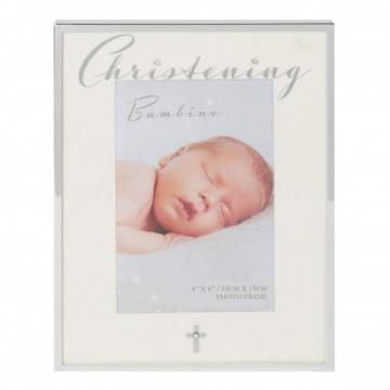 Rama foto margini argintate Christening Bambino by Juliana de la Krbaby.ro - Cadouri Bebelusi