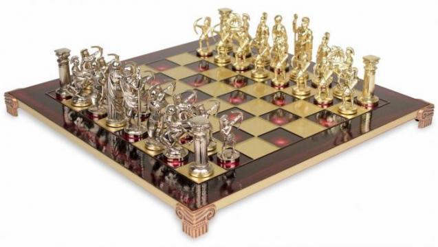 Set piese sah din metal Combo Arcasii - mediu + tabla de la Chess Events Srl