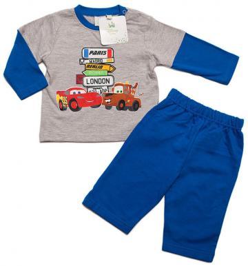 Compleu bebe baieti, Cars, bumbac, gri cu albastru de la A&P Collections Online Srl-d