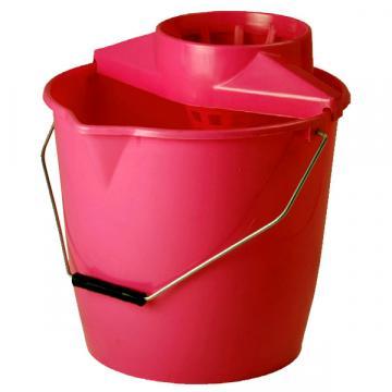 Galeata rosie cu storcator, 12 litri, maner metal de la Sirius Distribution Srl