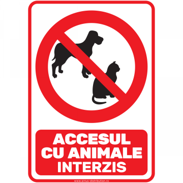 Indicator autocolant - Accesul interzis cu animale - A5 de la Sirius Distribution Srl